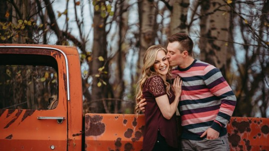 Alberta farm engagement, country engagement session, fall farm engagement session